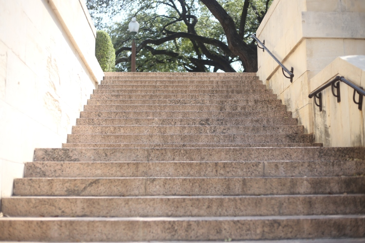 Stairs to the Main Mall at The University of Texas at Austin.