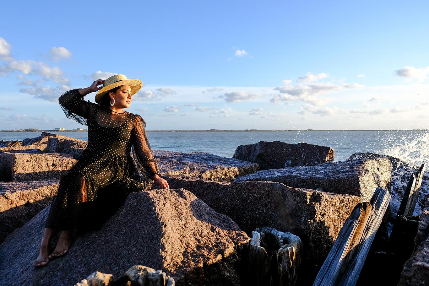 crashing waves, woman wearing hat, ocean, wood