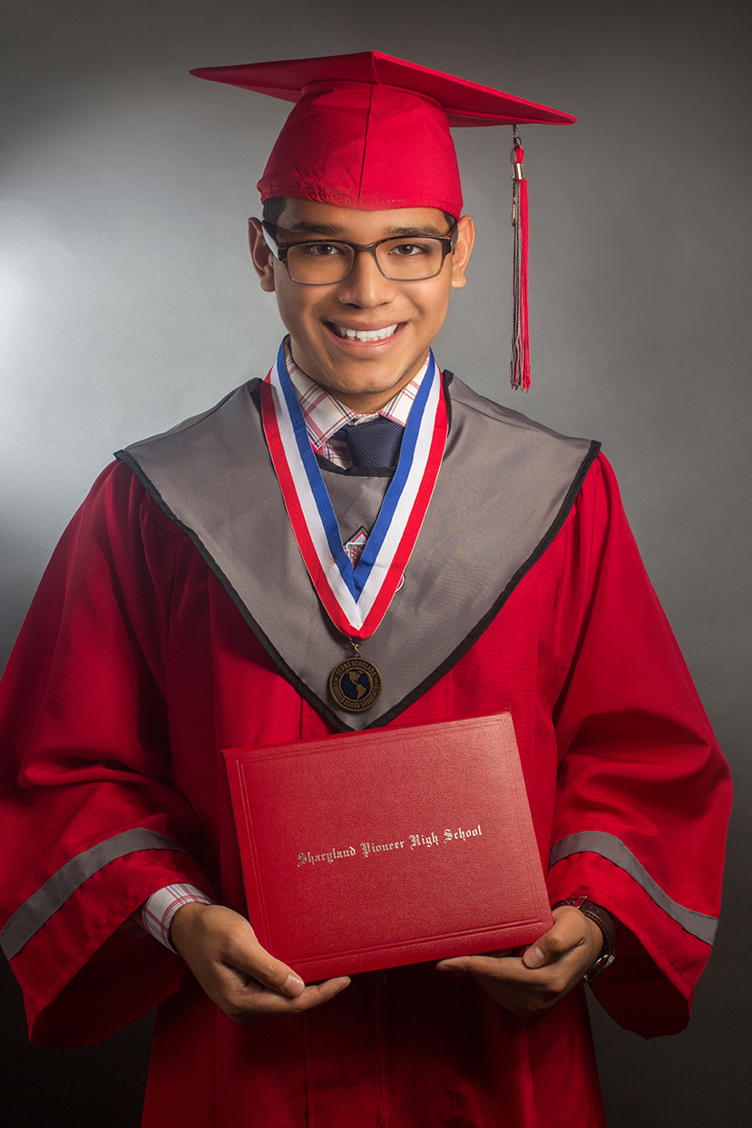 Glasses, Young man, Red Grad gown, Scholar, HS graduation, Diploma, medal, tassel